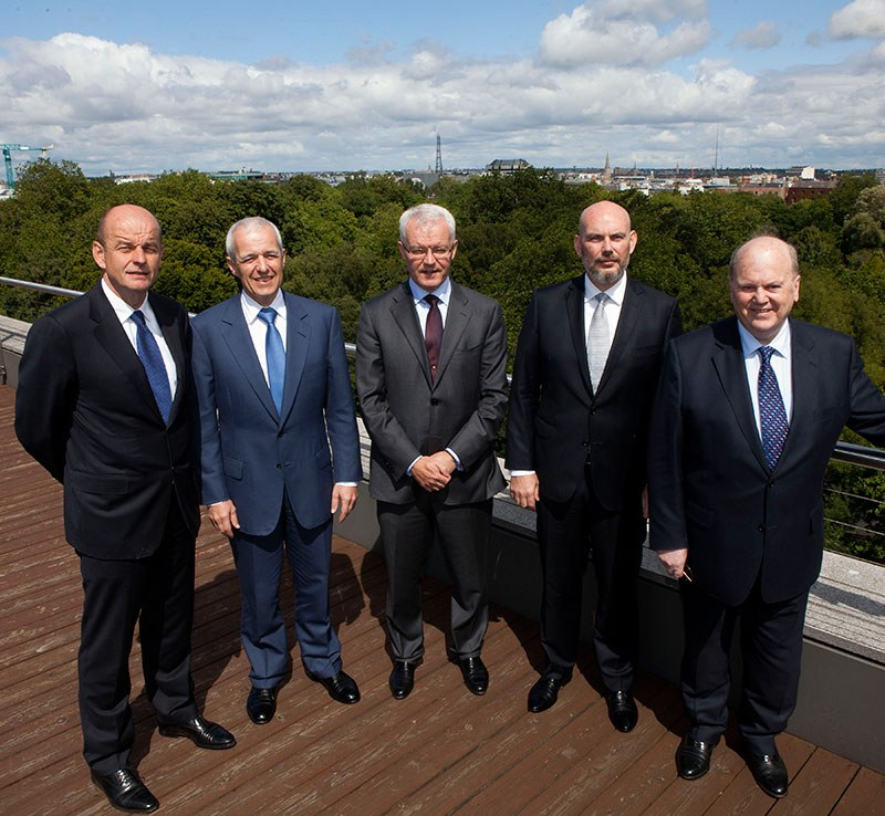Activate Capital Launch, July 2015: L - R: Robert Gallagher, KKR; Johannes P. Huth, Head of KKR Europe, Africa and Middle East; Dan O'Connor, Activate Capital; Fergal McAleavey, Head of Private Equity, ISIF; Michael Noonan, Minister for Finance,