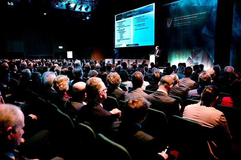 Market Engagement event, Dublin Convention Centre, April 2015: Ireland Strategic Investment Fund Director, Eugene O'Callaghan addressing delegates