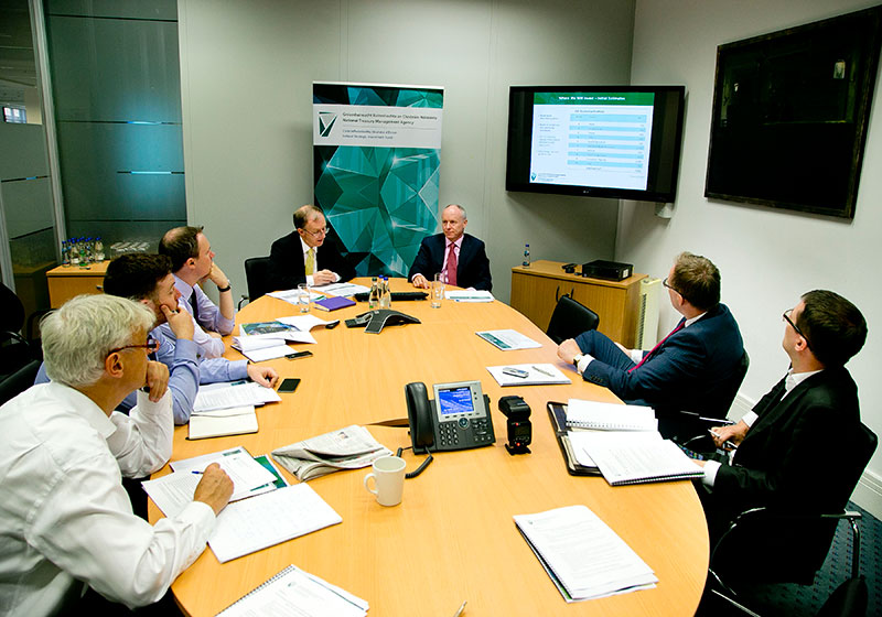 Investment Strategy & Economic Impact Report Launch, July 2015: Fund director, Eugene O'Callaghan and Kieran Bristow, Head of Investment Strategy explain the investment strategy and economic impact report to attending media