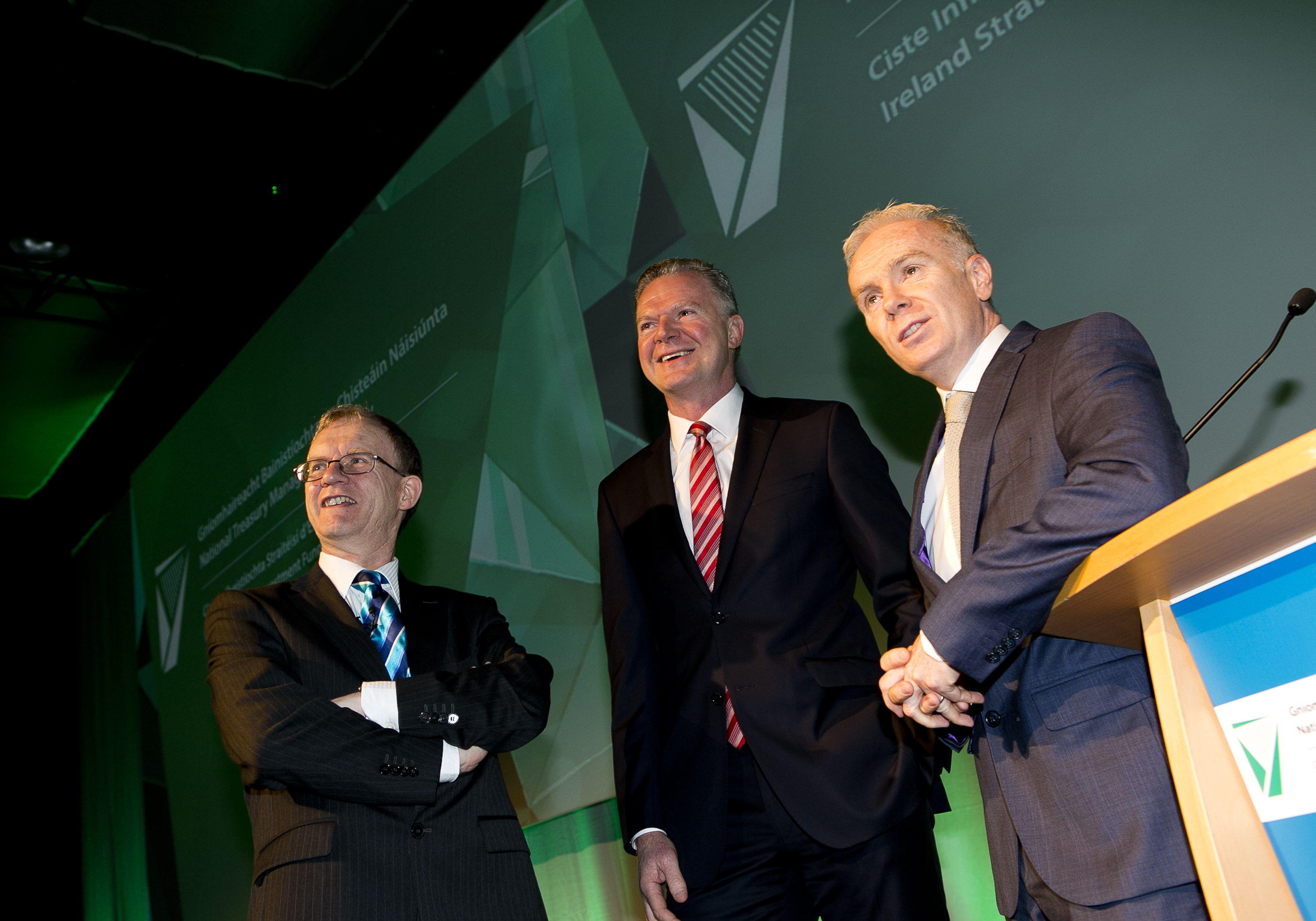 Market Engagement Event, Dublin Convention Centre, April 2016: L-R ISIF Director, Eugene O'Callaghan, NTMA CEO Conor O'Kelly, MC and Journalist Richard Curran