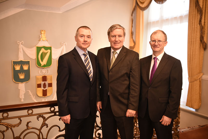 Market Engagement Event, Irish Embassy London, November 2015: L-R Willie Walsh, Chairperson of the National Treasury Management Agency (NTMA), Ireland's Ambassador to Great Britain Daniel Mulhall and ISIF Director Eugene O'Callaghan