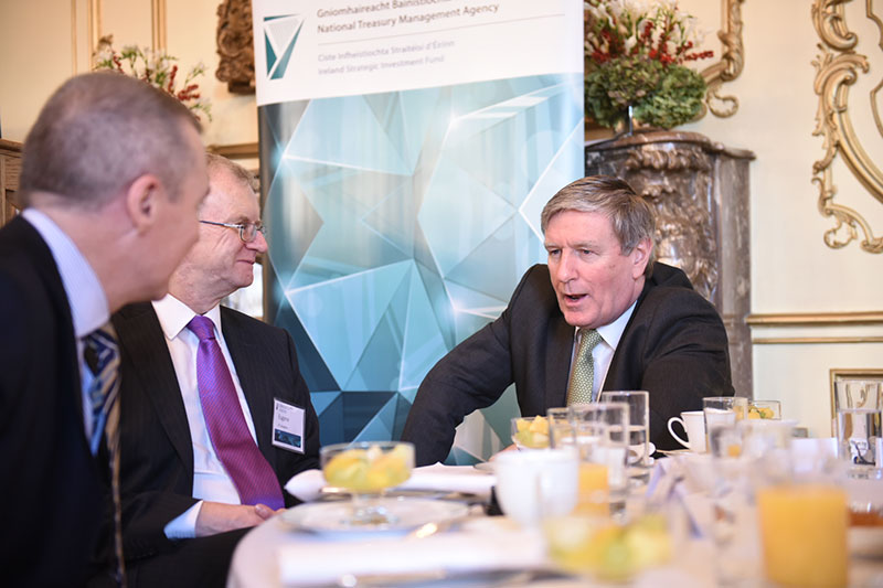 Market Engagement Event, Irish Embassy London, November 2015: Willie Walsh, Chairperson of the NTMA, Ireland's Ambassador to Great Britain Daniel Mulhall and ISIF Director Eugene O'Callaghan