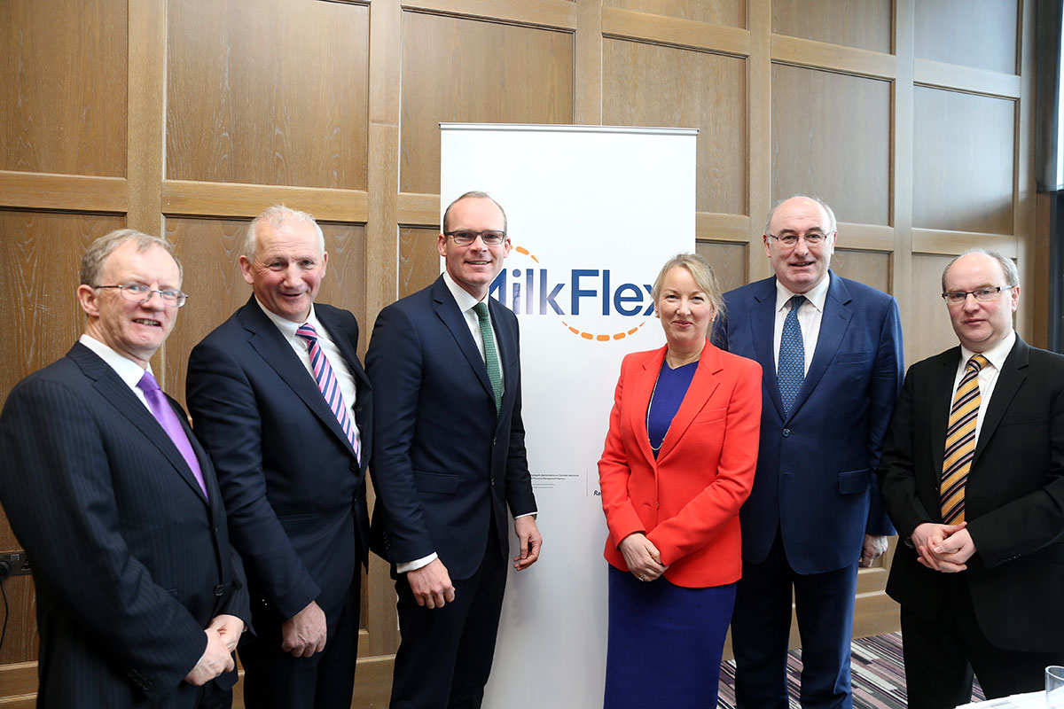 Glanbia Milkflex Fund Launch, March 2016: L-R: Eugene O'Callaghan, ISIF Director; Henry Corbally, Glanbia Chairman; Simon Coveney TD, Minister for Agriculture, Food and the Marine; Siobhan Talbot, Glanbia CEO; Phil Hogan, European Commissioner for Agriculture and Rural Development; Sean Molloy, Glanbia